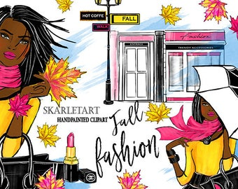 Automn Clipart Fashion Fall Chanel African American Girl Umbrella Lipstick Glitter Leafs Beauty Blog Fall Planner Stickers Girly planner DYI