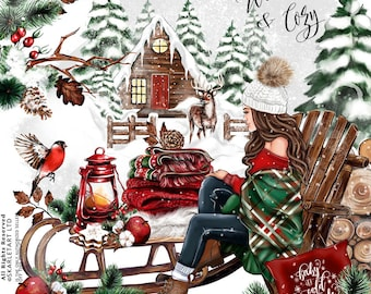 Winter Clipart Christmas Clipart Winter Fashion Illustration Clipart Cozy Xmas Winter Clipart Fashion Ilustration Girly Planner