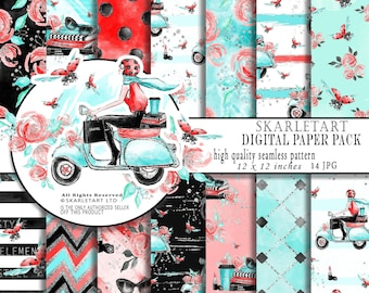 Girl Boss Paper Pack fashion paper Pack Digital Scrapbook Printable Background Red Glitter Blog Theme Paper Pack Girly Shoes Parfume