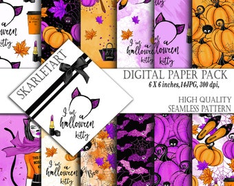 Halloween paper Pack Fashion Girl Thanksgiving Fabric Fall Autumn Broom Cute Stickers DYI