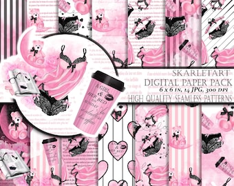 Digital Paper Pack Fashion Paper Pack Digital Scrapbook Printable Background Blog Theme Paper Pack Girl Illustration Planner Fashion Girl