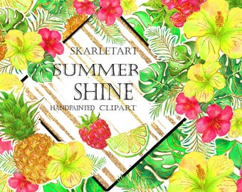 Summer  Glittering Clip Art Hibiscus Clipart Glitter Fashion Clipart Tropical Flowers Citrus Pineapple Planner Stickers