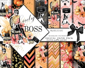 Girl Boss Paper Pack fashion paper Pack Digital Scrapbook Printable Background Gold Glitter Blog Theme Paper Pack Girly Shoes Parfume