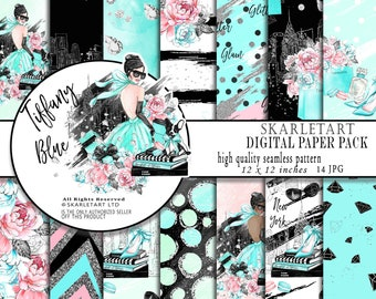 Fashion Paper Pack Tiffany Background Floral Glam Digital Paper Pack Background Chanel Macaroons Diamond Girly Planner Cover DIY Pack