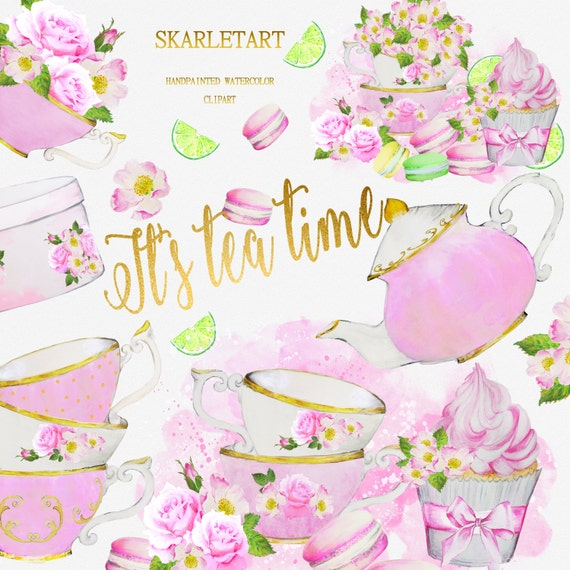 Watercolor tea party clipart teacup teapot bridal shower etsy image 0 filmwisefo
