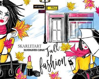 Fall Flipart Automn Clipart Fashion Fall Chanel Umbrella Lipstick fashion Beauty Blog Fall Planner Stickers Girly planner DYI