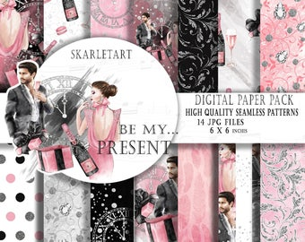 New Year Paper Pack Wedding Scrapbook Paper  Valentine Digital Background Engagement Seamless Patterns Love Watercolor Fashion Illustration