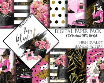 Fashion Paper Pack Paris Background Floral Glam Digital Paper Pack Background Chanel Lipstick Parfume Girly Planner Cover DIY Pack