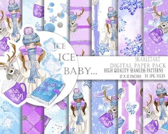 Winter Paper Pack, Cute Christmas Paper Pastel Glitter Blue Lavender Purple, Cozy  Winter Coffe Mug, Deer Planner SuppliesSnowflakes