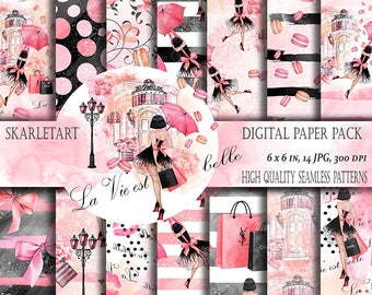 Fashion Digital Paper Pack Paris Paper Pack Romantic  Paris backgraund planner Stickers DYI