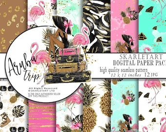 Summer Digital Paper Fashion Paper Pink Flamingo Paper Pineapple Beach Patterns Watercolor Fruits Seamless Paper Glitter Planner Stickers