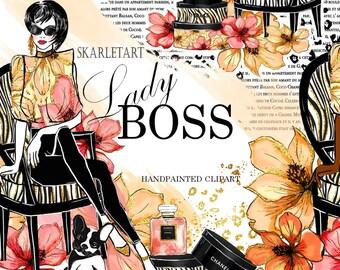 Handpainted Clipart Lady Boss Clipart Planner Clipart Beauty Blog Planner Girl Boss Chanel Illustration Gute Dog  Girly Planner Supplies DIY