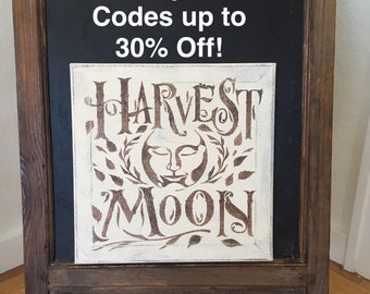 """Harvest Moon/ Handpainted Canvas Sign 12"""" x 12"""" / Annie Sloan Old White Chalk Paint and Brown Acrylic"""