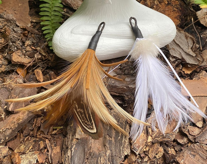 NEW! Feather, Leather or Fur Cat Teaser Toy Attachment (use with wood teaser wand)