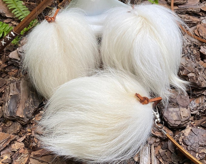 NEW! Natural White Finn Raccoon Cat Toy Teaser Attachment