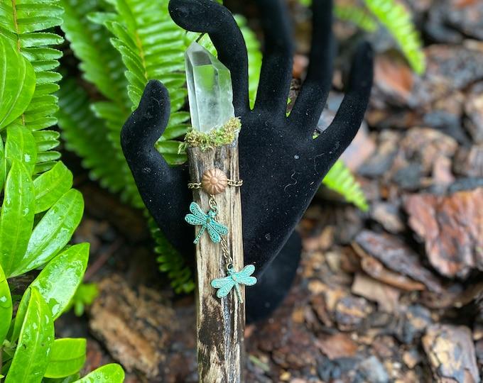 Dragonfly Bone Wand with Quartz Crystal Point
