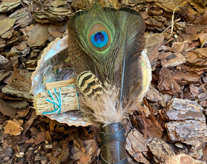 Peacock And Iridescent Florida Turkey Feather Smudge Fan/Prayer Fan with Abalone Shell and Smudge Bundle