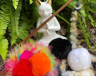 NEW! Fur-ball Cat Toy Teaser Attachment with Fuzzy or Feathery Leader Line