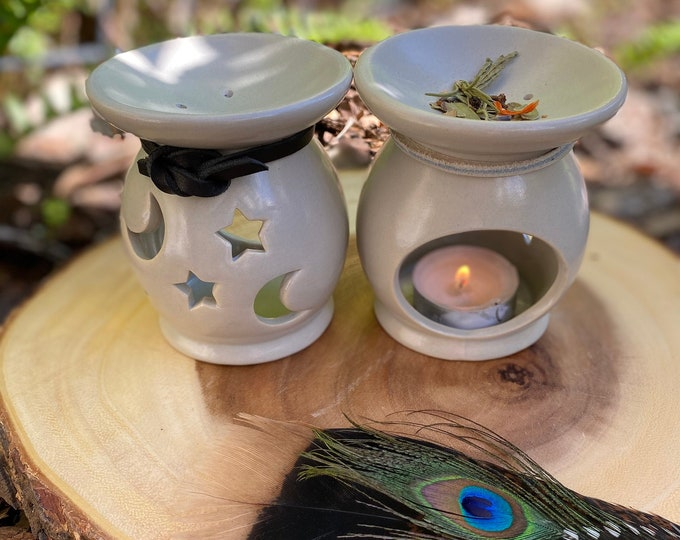 Moon and Stars Multi-use Loose Herb Burner for Crushed Herbs, Resins and/or Aromatic Smudge