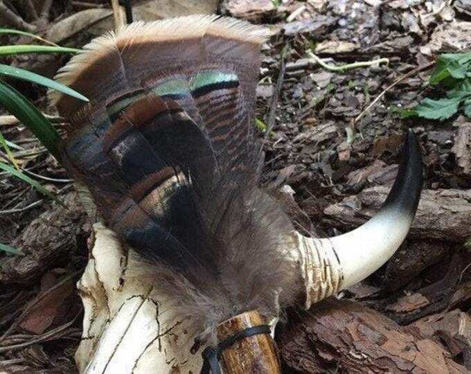 Bone Handle Turkey Tail Feather Smudge Fan