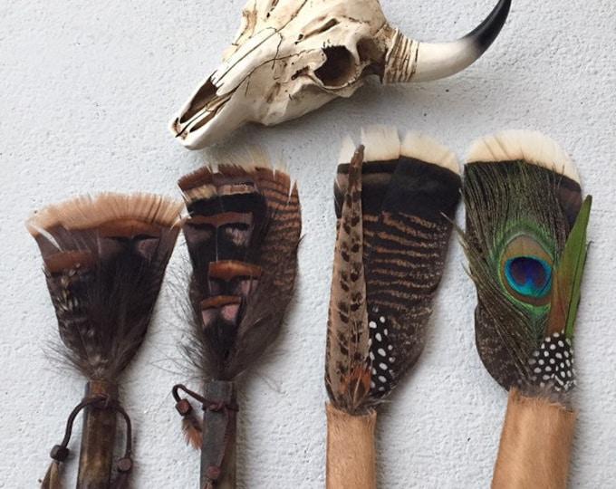 Mini Bone Handle Turkey Feather Smudge Fan, Travel Size
