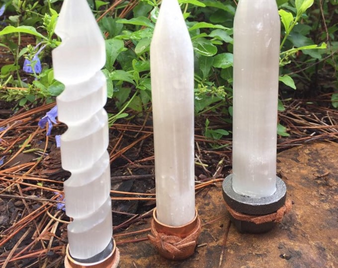 Selenite Healing and Charging Wand includes storage pouch