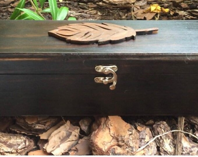 Wood Storage Box for Ceremonial Tools- Feather Design or Carry Handle