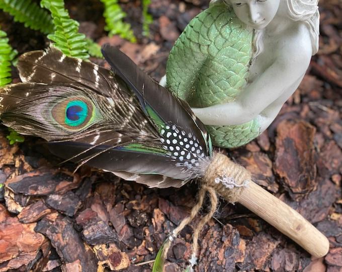 Mermaid Spirit Driftwood Handle Feather Smudge/Ceremonial Fan