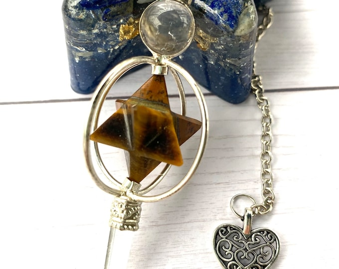 Tiger Eye Crystal Point Pendulum with Pouch and Chart