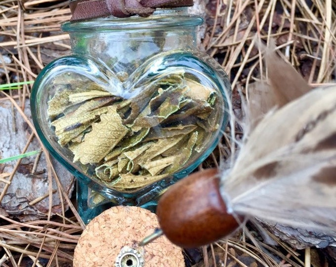 Heart Shaped Smudge Jars with Detachable Feather Fan | Ritual | Energy Clearing | Spiritual Cleansing