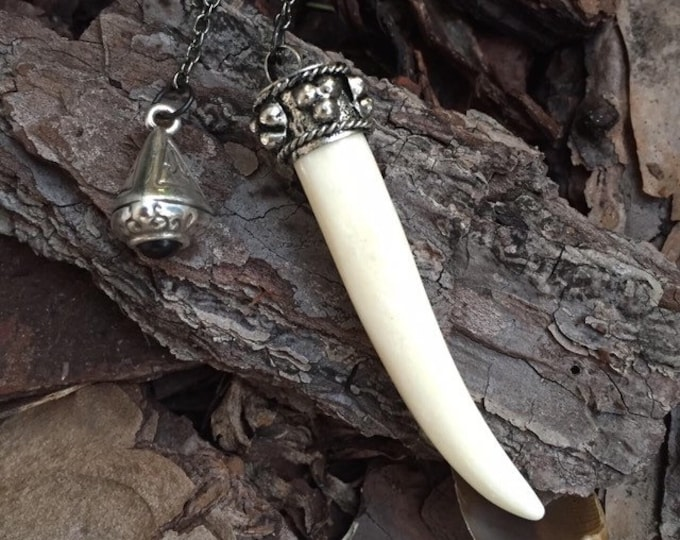 Pendulum for Divination, Bone Carved Buffalo Tooth