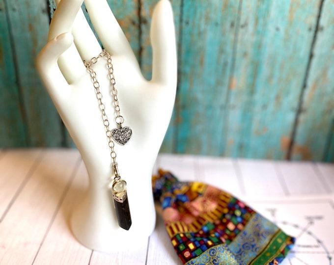 Black Obsidian or Black Tourmaline Crystal Pendulum/Dowsing/Divination Tool