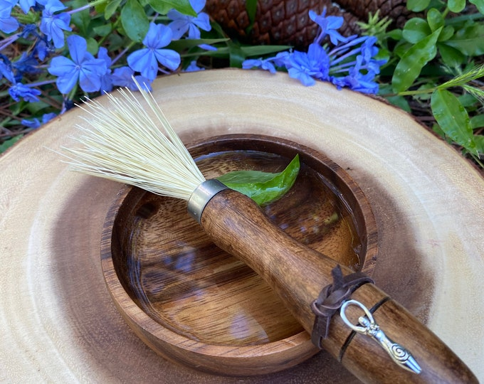Blessing/Sprinkler Stick and Wooden Blessing Bowl