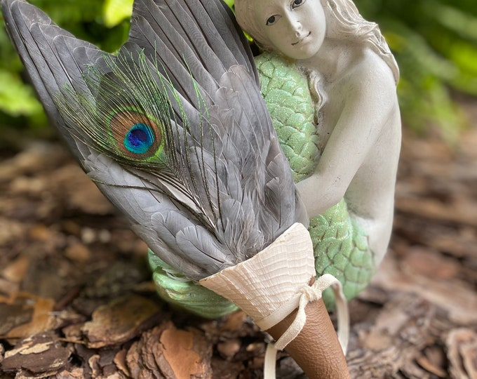 Mermaid's Tail- Dove Wings with Shell Handle Smudge Fan