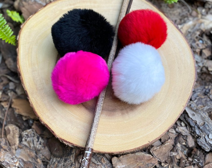 Fur-ball Cat Toy Teaser Attachment, Real Rabbit Fur Ball