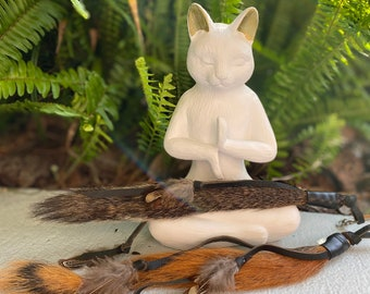 NEW! Real Squirrel Tail Cat Toy Teaser Attachment with leather and feather adornment