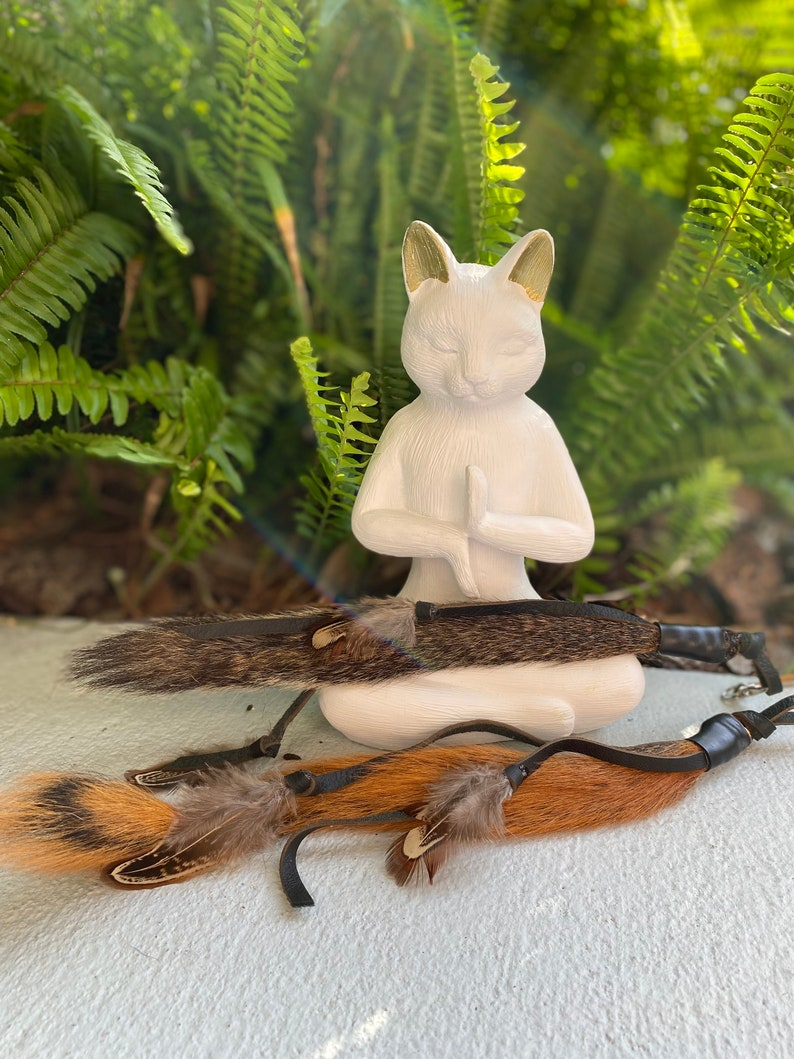 NEW Real Squirrel Tail Cat Toy Teaser Attachment with leather image 0