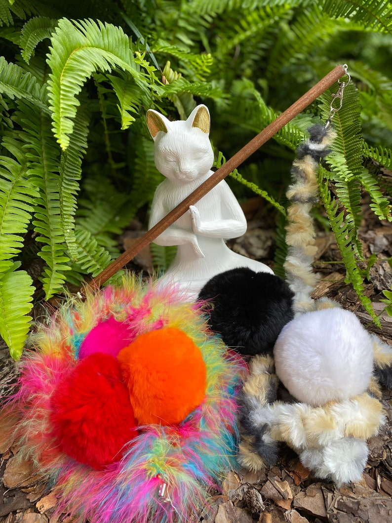 NEW Fur-ball Cat Toy Teaser Attachment with Fuzzy or Feathery image 0