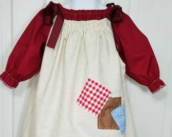 Little Orphan Annie Dress, Annie Dress, Annie Patch Dress,  Peasant Dress, Halloween Costume