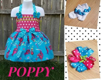 Poppy the Troll Twirl Dress, Poppy the Troll Dress, Poppy the Troll Birthday, Poppy Birthday, Troll Dress, Poppy Dress, Character Dress