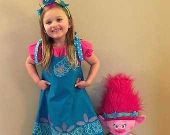 Poppy the Troll Costume, Poppy the Troll Dress, Poppy the Troll Birthday, Poppy Birthday, Troll Dress