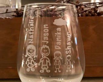 Personalized engraved «family», teacher gift, sandblast, wine, beer, champagne