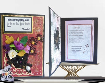 Condolence card. Deepest Sympathy for loss of Brother, Sister, Mom, Dad. Personalized, custom card with gold foiled inside lettering.