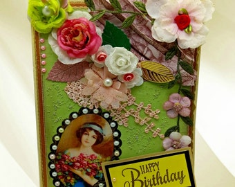 Birthday card. Retro taste, mixed media card for woman. Mom. Wife. Bride. Girlfriend. Custom, Personalized, Boxed card for special occasion