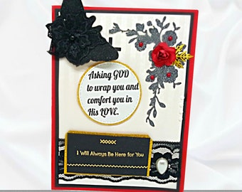 Bereavement card for loss of Wife, Husband, Family member. Handmade, Boxed card in Black and White design, lined with gold. Custom wording.