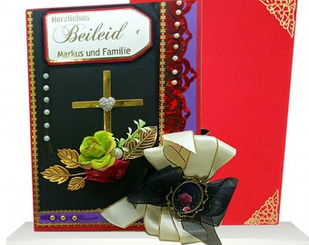 Personalized Sorrow card for loss of Husband, Father, Brother, Friend. Heartfelt 3D Condolence card with golden cross, flowers and ribbons.