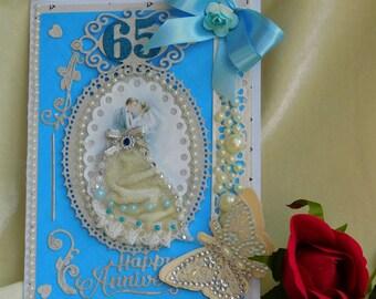 Wedding Anniversary. Parents Anniversary. Sapphire Anniversary. 65 Anniversary. 60th Anniversary. Boxed card. Anniversary card. Cute card.