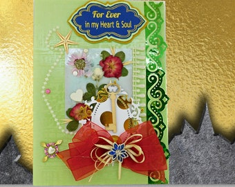 Custom card for Her, For Ever in my Heart & Soul. Spring love card with real small rose and 4 leaf clovers. Multilingual. Personalized.