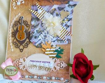 Sister Birthday card. Sister Birthday. Retro vintage card. Card for birthday. Card for her. Card for wife. Personalised card. Birthday gift