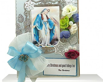 Custom, Personalized box in noble blue with flowers, ribbons and pearls. Christian gift box for Christmans Eve, Baptism, Confirmation.